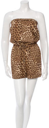 Mulberry Printed Strapless Romper $110 thestylecure.com