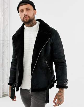 Asos DESIGN faux shearling biker jacket with fleece lining