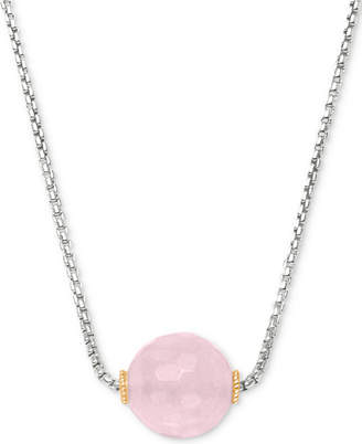 """Peter Thomas Roth Rose Quartz Bead 18"""" Pendant Necklace (7 ct. t.w.) in Sterling Silver and 18k Gold-Plate"""