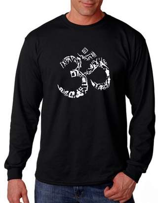 Pop Culture Big Men's Long Sleeve T-Shirt - The Om Symbol Out of Yoga Poses