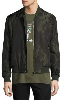 Versace Collection Abstract-Print Bomber Jacket, Army Green $995 thestylecure.com