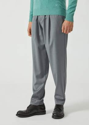 Emporio Armani Drawstring Trousers In Lightweight Wool