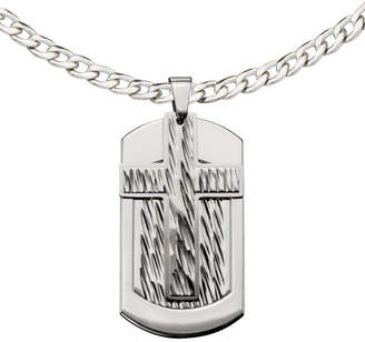 JCPenney FINE JEWELRY Inox Jewelry Mens Stainless Steel Cross Dog Tag Pendant Necklace