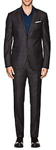Barneys New York MEN'S PLAID WOOL TWILL SUIT-GRAY SIZE 42 L