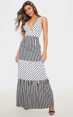 63df7f0222e9 PrettyLittleThing White Stripe Polka Dot Mixed Print Maxi Dress
