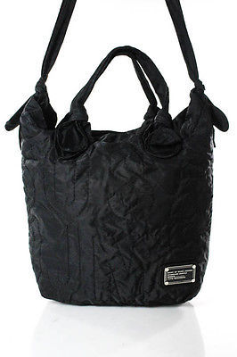 Marc By Marc JacobsMarc By Marc Jacobs Black Nylon Embroidered Large Tote Handbag