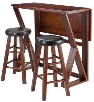 "Winsome Wood Harrington 3-Pc Drop Leaf High Table, 2-24"" Cushion Round Seat Stools"