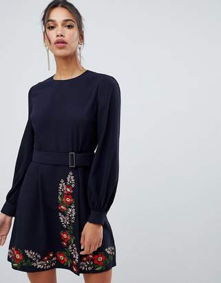 Ted Baker Siliia Kirstenbosch Embroidered Wrap Dress