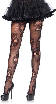 Leg Avenue Women's Plus-Size Plus Sugar Skull Net Pantyhose