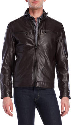 MICHAEL Michael Kors Perforated Faux Leather Zip Jacket