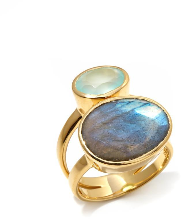 Argentovivo Argento Vivo Labradorite and Aqua Chalcedony Double Gem Gold-Plated Ring