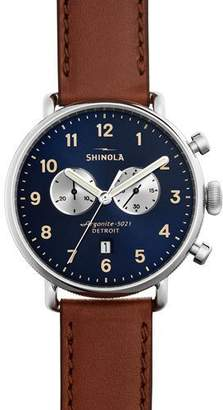Shinola 43mm Canfield Chronograph Watch, Brown $850 thestylecure.com