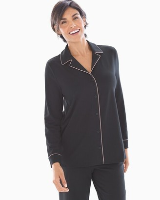 Embraceable Long Sleeve Notch Collar Pajama Top Black with Pink Trim