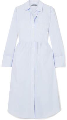 ALEXACHUNG Striped Cotton-poplin Midi Dress - Light blue
