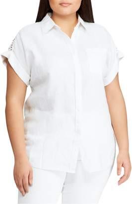 Lauren Ralph Lauren Plus Relaxed-Fit Linen Blend Button-Down Shirt