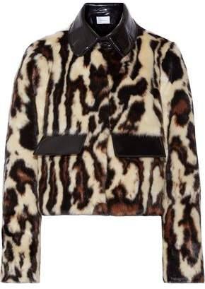 Carven Glossed Faux Leather-Trimmed Leopard-Print Faux Fur Coat