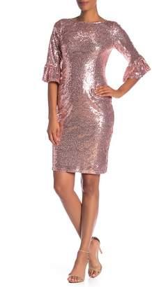 Marina 3\u002F4 Bell Sleeve Sequin Dress