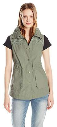 True Grit Dylan by Women's Lightweight Two Pocket Rouched Collar Snap Button Cargo Vest