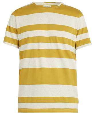 Oliver Spencer Conduit Crew Neck Striped Cotton T Shirt - Mens - Yellow Multi