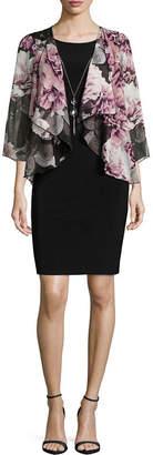 Tiana B 3/4 Sleeve Necklace Chiffon Jacket Dress-Petites