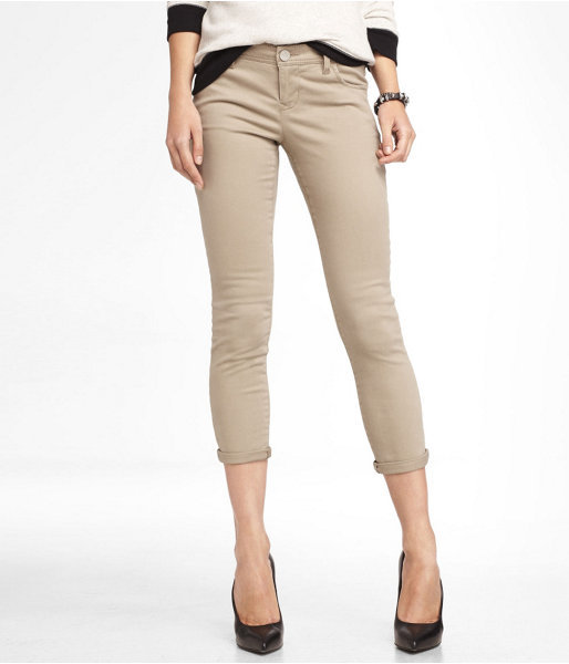 Express Brushed Sateen Cropped Cuffed Legging