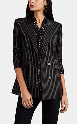 Saint Laurent Women's Metallic-Striped Wool Double-Breasted Blazer - Black