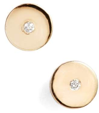 Chicco Zoe Round Disc Center Diamond Stud Earrings