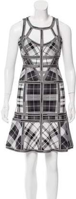 Herve Leger Jenissa Tartan Print Dress w/ Tags