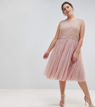 Lovedrobe Luxe Plus Lovedrobe Luxe Embellished Dress With Tulle Skirt