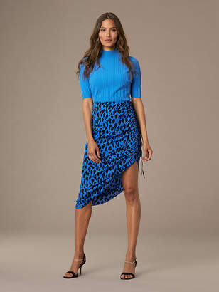 Diane von Furstenberg Crepe Ruched Pencil Skirt
