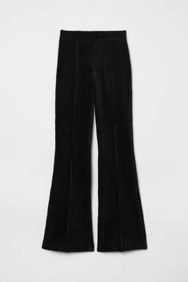 H&M Flared Corduroy Pants - Black