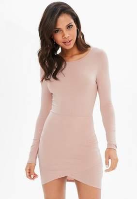 Missguided Rose Crew Neck Asymmetric Hem Mini Dress