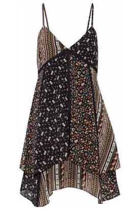 Alice + Olivia Alice+olivia Delilah Patchwork Floral-Print Silk-Blend Mini Dress
