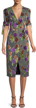 Saylor Floral Burnout Velvet Wrap Dress w/ Short Sleeves