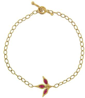 Cathy Waterman Three Leaf Ruby Chain Bracelet - Yellow Gold