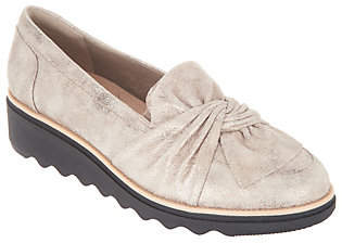 Clarks Suede Slip-On Loafers w/ Knotted Detail- Sharon Dasher