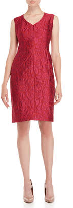 Cynthia Fields V-Neck Jacquard Sheath Dress