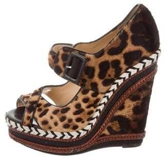 Christian Louboutin Ponyhair Leopard Wedges