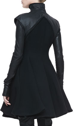 Gareth Pugh Flared Leather-Sleeve Coat