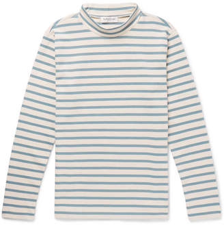 YMC Striped Cotton-Jersey Mock-Neck T-Shirt - Men - Blue
