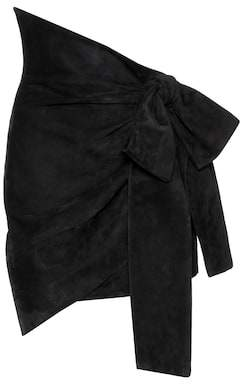 Saint Laurent Asymmetric suede skirt