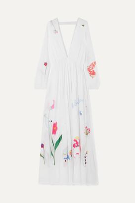 Mira Mikati Printed Cotton-gauze Maxi Dress - White