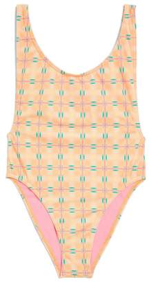 Topshop Check Print One-Piece Swimsuit