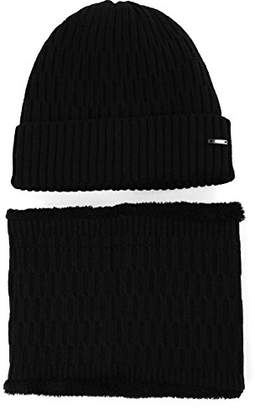 Jeff & Aimy 2 Piece Wool Knit Hat & Scarf Sets Black Beanie with Neck Gaiters Fleece Beanies Winter Hat Balaclavas