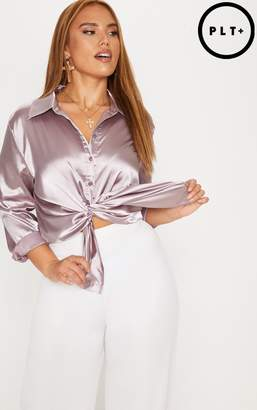 PrettyLittleThing Plus Mink Satin Button Front Shirt