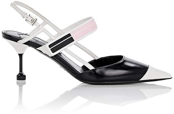 Prada Women's Spazzolato Leather Slingback Pumps