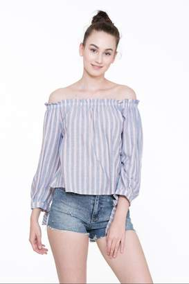 En Creme Off-Shoulder Stripe Top