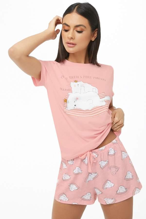 Forever 21 Cat Print Tee & Shorts PJ Set