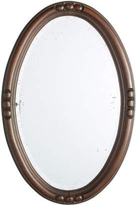 Rejuvenation English Beveled Mirror w/ Carved Oval Mahogany Frame