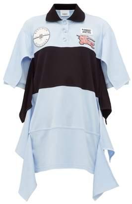 Burberry Oversized Draped Cotton Jersey Polo Shirt Dress - Womens - Light Blue